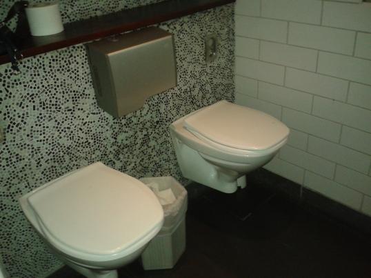 Naisten vessa, jossa voi tosiaan käydä kimppapissalla. (En käynyt.)